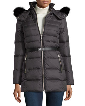 Gina Puffer Coat with Fur Hood