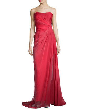 Strapless Draped Chiffon Gown, Poppy Ombre