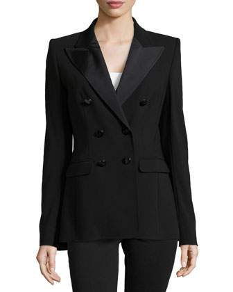 Double-Breasted Long Lined Jacket, Black