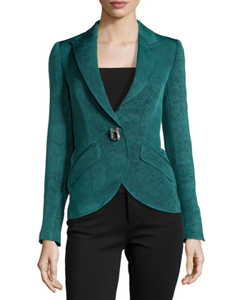 One-Button Long Lined Jacket, Teal