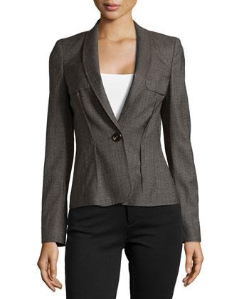 Long Wool One-Button Blazer