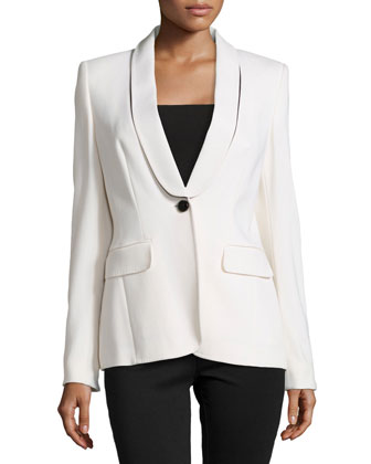 Bracha Shawl-Lapel Tuxedo Jacket, Ivory