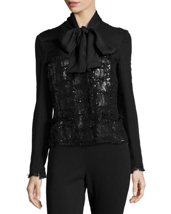 Hand-Embroidered Tie-Neck Jacket