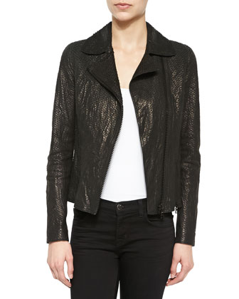 Nancy Snake-Embossed Lambskin Leather Jacket
