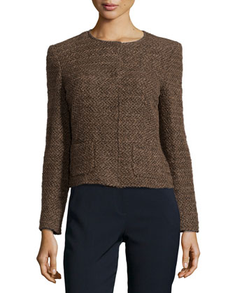 Tweed Jacket with Round Neckline
