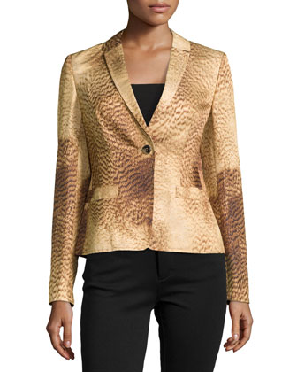 Short Lined Printed One-Button Jacket