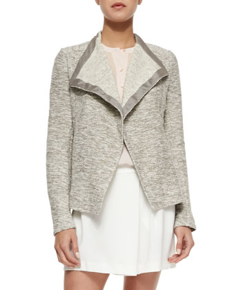 Draped Open Tweed Jacket, Sleeveless Silk Tuxedo Blouse & Lightweight Crepe ...