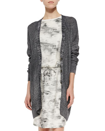 Metallic Knit Button-Front Cardigan & Sleeveless Marble-Print Dress