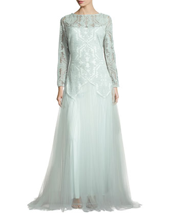 Long-Sleeve Lace & Tulle Gown