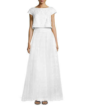 Cap-Sleeve Lace Popover Gown