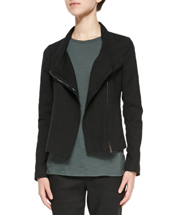 Textured Knit Asymmetric Jacket, Cuffed-Sleeve Slub Knit Tee & Button-Front ...