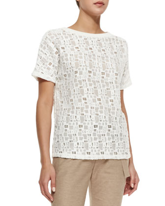 Tiled Lace Short-Sleeve Tee
