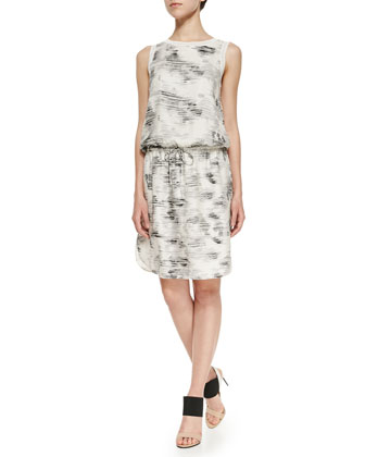 Sleeveless Marble-Print Dress