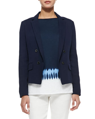 Short Double-Breasted Blazer, Tie-Dye Boat-Neck Sweater & Button-Front ...