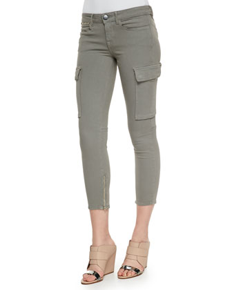 Cuffed-Sleeve Slub Knit Tee & Riley Cropped Cargo Skinny Pants