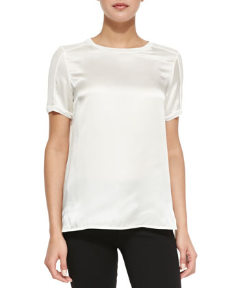Short-Sleeve Satin Top