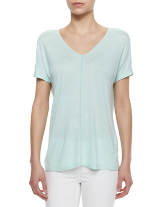 Loose V-Neck Slub Top