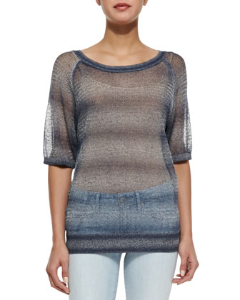 Metallic See-Through Knit Sweater & Dylan Skinny Denim Ankle Jeans