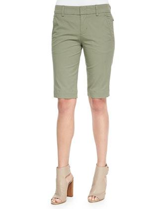 Cuffed-Sleeve Slub Knit Tee & Buckle-Side Twill Bermuda Shorts