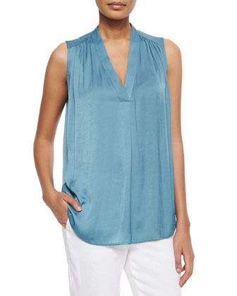 Gathered-Shoulder Sleeveless Satin Top