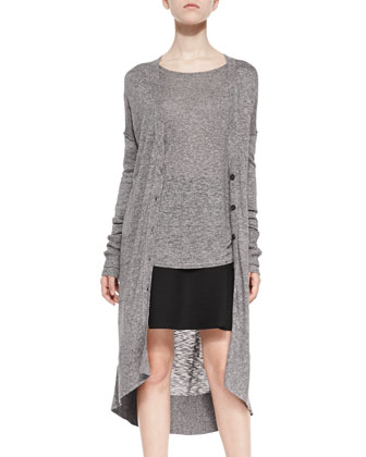 Long Knit-Trim Slub Cardigan, Textured Long-Sleeve Boat-Neck Top & Ottoman ...