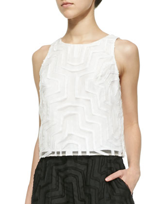 Sleeveless Fil Coupe Cropped Top, White