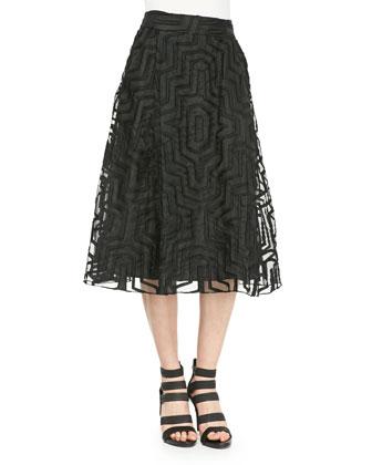 Sleeveless Fil Coupe Cropped Top & Illusion Midi Skirt