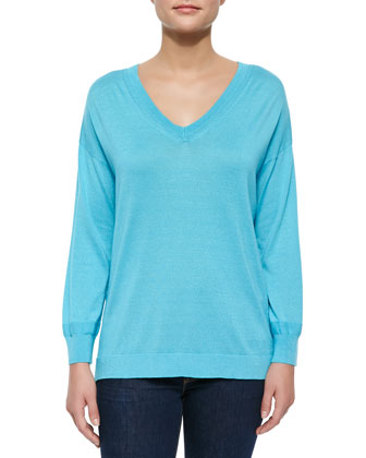 Silk-Cashmere V-Neck Sweater