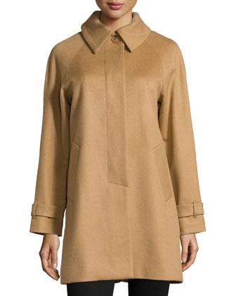 Balmacaan Cashmere Coat, Camel