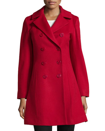 Double-Breasted Princess Coat, Red