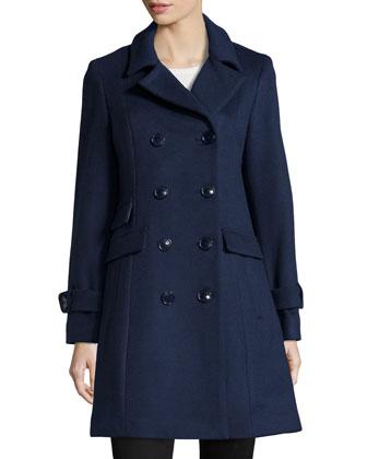 Wool-Blend Trench Coat, Indigo