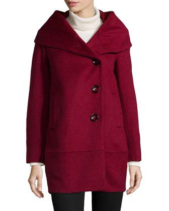 Cocoon Wool-Blend Coat, Burgundy
