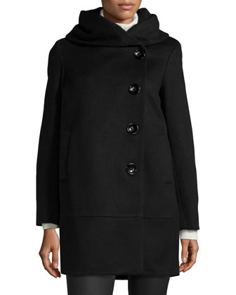 Cocoon Wool-Blend Coat, Black