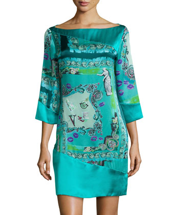 3/4-Sleeve Silk Print Shift Dress