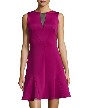 Sleeveless Mesh Back Flounce Hem Dress, Burgundy