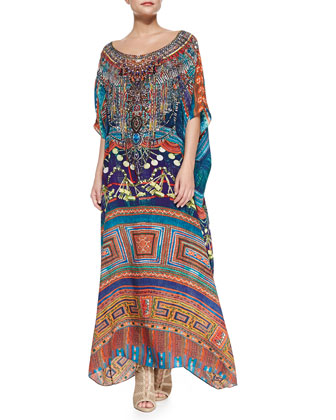Beaded Printed Long Caftan Coverup