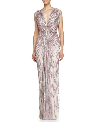 Draped Starburst Sequined Gown