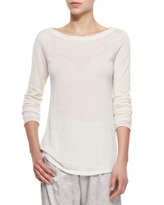 Cashmere Boat-Neck Sweater & Knit Stone-Print Track Pants