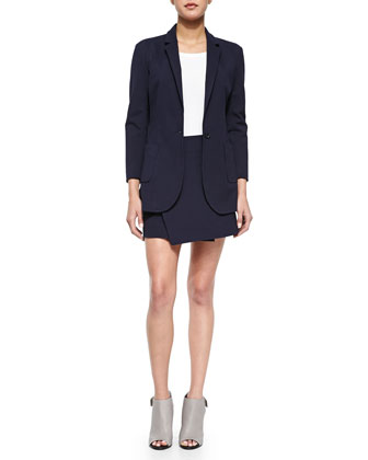 Single-Button Woven Boyfriend Blazer, Jackie Knit Ballet Top & Knit Wrap ...