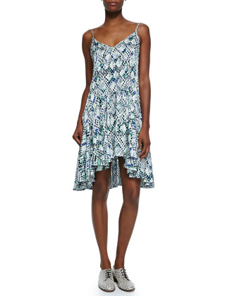 Rory Mosaic-Print Ruffled Dress
