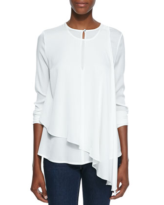 Ellis Asymmetric Overlay Knit Blouse