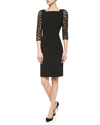 Kriya Lace-Sleeve Sheath Dress