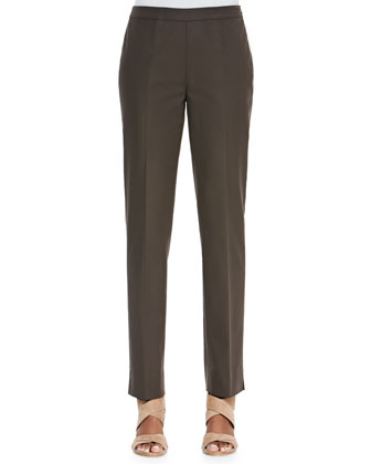 Bleecker Stretch Straight-Leg Pants, Granite