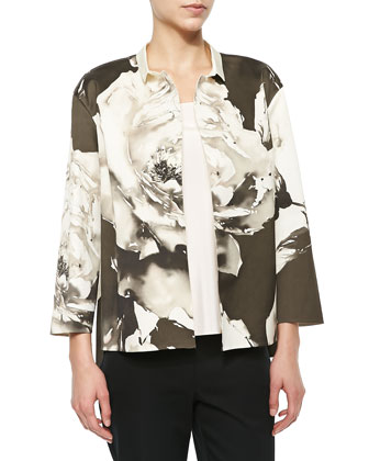 Anne Floral-Print Topper Jacket