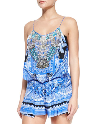 Beaded Printed Jersey Short Jumpsuit