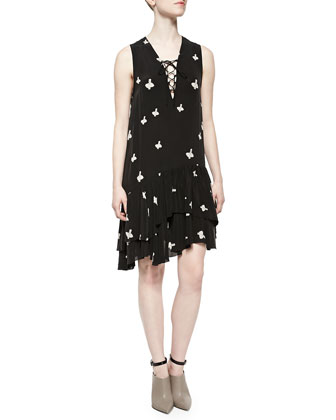 Sleeveless Cross-Print Ruffle-Hem Dress