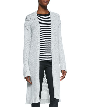 Cashmere Knit Long Open Cardigan, Striped Round-Neck Long-Sleeve Tee & ...