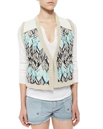 Sequined Feather-Pattern Vest