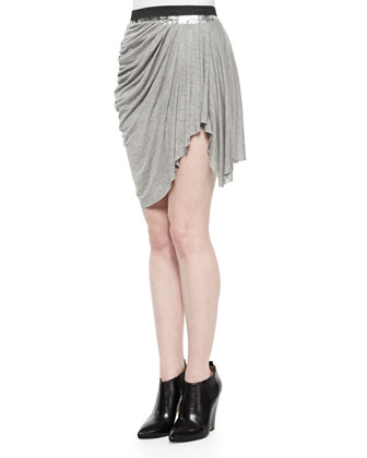 Draped Slub Pull-On Skirt