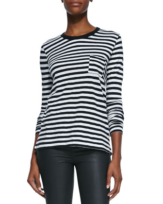 Striped Round-Neck Long-Sleeve Tee